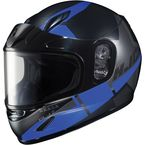 Youth Semi-Flat Black/Blue CL-YSN Boost MC-2SF Helmet w/Framed Dual Lens Shield   - 237-724