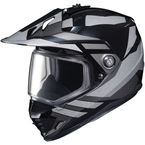 Black/Gray DS-X1 Lander MC-5 Snow Helmet w/Frameless Dual Lens Shield - 513-954