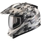 White/Gray GM11S Checked Out Snowmobile Helmet w/Dual Lens Shield  - G2119316 TC-12