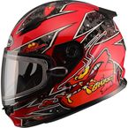 Youth Red GM49Y Alien Snowmobile Helmet w/Dual Lens Shield - G2497200 TC-1