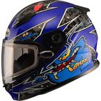 Youth Blue GM49Y Alien Snowmobile Helmet w/Dual Lens Shield - G2497212 TC-2
