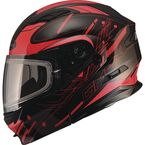 Black/Red MD01 Wired Modular Snowmobile Helmet w/Dual Lens Shield - G2014206 TC-1