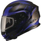 Black/Blue MD01 Wired Modular Snowmobile Helmet w/Dual Lens Shield - G2014217 TC-2