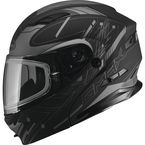 Flat Black/Silver MD01 Wired Modular Snowmobile Helmet w/Electric Shield - G2014555 TC17 ELEC
