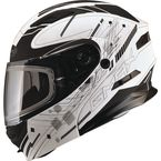 Flat Black/White MD01 Wired Modular Snowmobile Helmet w/Dual Lens Shield - G2014606 TC-15