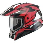 Black/Red GM11S Vertical Snowmobile Helmet w/Dual Lens Shield  - G2111206 TC-1