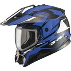 Black/Blue GM11S Vertical Snowmobile Helmet w/Dual Lens Shield  - G2111216 TC-2
