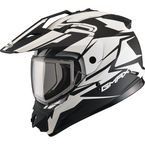 Flat Black/White GM11S Vertical Snowmobile Helmet w/Dual Lens Shield  - G2111435 F.TC-15