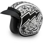 White/Black Graffiti 3/4 Cruiser Helmet - DC6-G-L