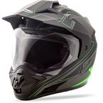 Matte Black/Hi-Vis Green GM-11D Expedition Dual Sport Helmet - G5112675 TC-23