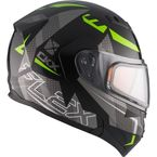Black/Gray/Green Flex RSV Hero Modular Snow Helmet w/Electric Shield - 510023#