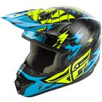 Youth Black/Teal Kinetic Shocked Helmet - 73-3456YL