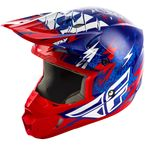 Youth Blue/Red Kinetic Shocked Helmet - 73-3455YL