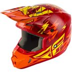 Youth Red/Yellow Kinetic Shocked Helmet - 73-3457YL
