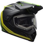Matte Black/Green/Flo Green  MX-9 Adventure Switchback Snow Helmet w/Electric Shield - 7098761
