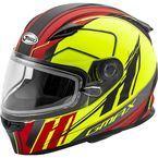 Youth Matte Hi-Vis/Red/Black GM49YS Rogue Helmet w/Dual Lens Shield - 72-6010YL
