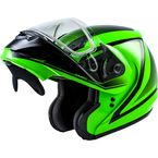 Hi-Vis Green/Black MD04S Docket Modular Snow Helmet w/Dual Lens Shield - G2042647