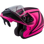 Hi-Vis Pink/Black MD04S Docket Modular Snow Helmet w/Dual Lens Shield - G2042226