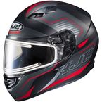 Semi-Flat Black/Red/Gray CS-R3 Trion MC-1SF Snow Helmet w/Electric Shield - 043-714