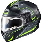 Semi-Flat Black/Hi-Viz/Gray CS-R3 Trion MC-3HSF Snow Helmet w/Electric Shield - 043-734
