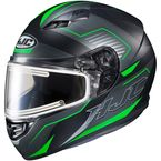 Semi-Flat Black/Green/Gray CS-R3 Trion MC-4SF Snow Helmet w/Electric Shield - 043-744
