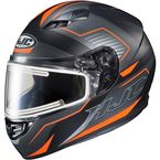 Semi-Flat Black/Hi-Viz Orange/Gray CS-R3 Trion MC-6HSF Snow Helmet w/Electric Shield - 043-764