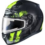 Semi-Flat Black/Hi-Viz Green/Gray CL-17SN Arica MC-3HSF Snow Helmet w/Electric Shield - 057-734