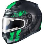 Semi-Flat Black/Green/Gray CL-17SN Arica MC-4SF Snow Helmet w/Electric Shield - 057-744