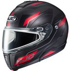Semi-Flat Black/Red/Gray CL-Max 3 Flow MC-1SF Snow Helmet w/Dual Lens Shield - 1013-714