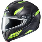 Semi-Flat Black/Hi-Viz Green CL-Max 3 Flow MC-3HSF Snow Helmet w/Dual Lens Shield - 1013-734