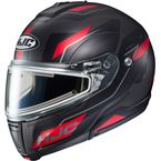 Semi-Flat Black/Red/Gray CL-Max 3 Flow MC-1SF Snow Helmet w/Electric Shield - 1113-714