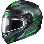 Semi-Flat Black/Green/Gray CS-R3 Trion MC-4SF Snow Helmet w/Dual Lens Shield - 143-744
