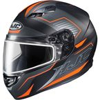 Semi-Flat Black/Hi-Viz Orange/Gray CS-R3 Trion MC-6HSF Snow Helmet w/Dual Lens Shield - 143-764