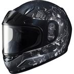 Youth Semi-Flat Black/Gray/White CL-YSN Vela MC-5SF Snow Helmet w/Dual Lens Shield - 241-754