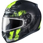 Semi-Flat Black/Hi-Viz Green/Gray CL-17SN Arica MC-3HSF Snow Helmet w/Dual Lens Shield - 857-734
