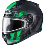 Semi-Flat Black/Green/Gray CL-17SN Arica MC-4SF Snow Helmet w/Dual Lens Shield - 857-743