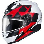 Semi-Flat White/Red/Black CL-17SN Ragua MC-1SF Snow Helmet w/Dual Lens Shield - 859-714