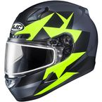 Semi-Flat Gray/Hi-Viz Green/Black CL-17SN Ragua MC-3HSF Snow Helmet w/Dual Lens Shield - 859-734