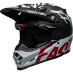 Matte/Gloss Black/White/Red Moto-9 Flex Fasthouse When Rules Were Few Helmet - 7098930