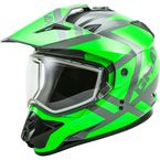 Gray/Neon Green GM11S Trapper Helmet w/Dual Lens Shield - 72-7154L
