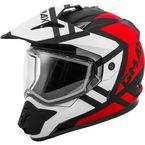 Matte Black/Red/White GM11S Trapper Helmet w/Dual Lens Shield - 72-7151L
