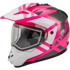Pink/White/Gray GM11S Trapper Helmet w/Dual Lens Shield - 72-7159L