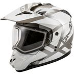 White/Silver GM11S Trapper Helmet w/Dual Lens Shield - 72-7150L