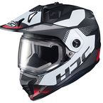 Semi-Flat Black/White/Red DS-X1 Tactic MC-1SF Snow Helmet w/Frameless Electric Shield - 019-714