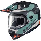 Semi-Flat Black/Blue/White DS-X1 Tactic MC-47SF Snow Helmet w/Frameless Electric Shield - 019-744