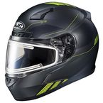 Semi-Flat Black/Hi-Vis Green CL-17 Combat MC-3HSF Helmet w/Frameless Electric Shield - 065-736