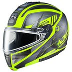 Semi-Flat Gray/Black/Hi-Viz CL-Max 3 Gallant MC-3HSF Snow Helmet w/Frameless Dual Lens Shield - 1015-734