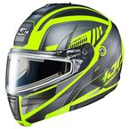 Semi-Flat Gray/Black/Hi-Viz CL-Max 3 Gallant MC-3HSF Snow Helmet w/Frameless Electric Shield - 1115-734
