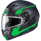 Semi-Flat Black/Green CS-R3 Dosta MC-4SF Snow Helmet w/Frameless Dual Lens Shield - 151-744