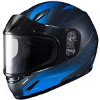 Youth Semi-Flat Black/Blue CL-Y Taze MC-2SF Helmet w/Framed Dual Lens Shield - 243-724